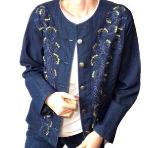 Jackets & Blazers - Choices Denim Embroidered Jean jacket Petite (C10)